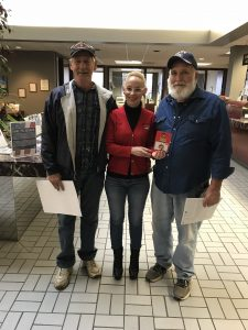 Veterans Alan Harris and Ray Ramsey with Murphy-Wall employee Monika Holder