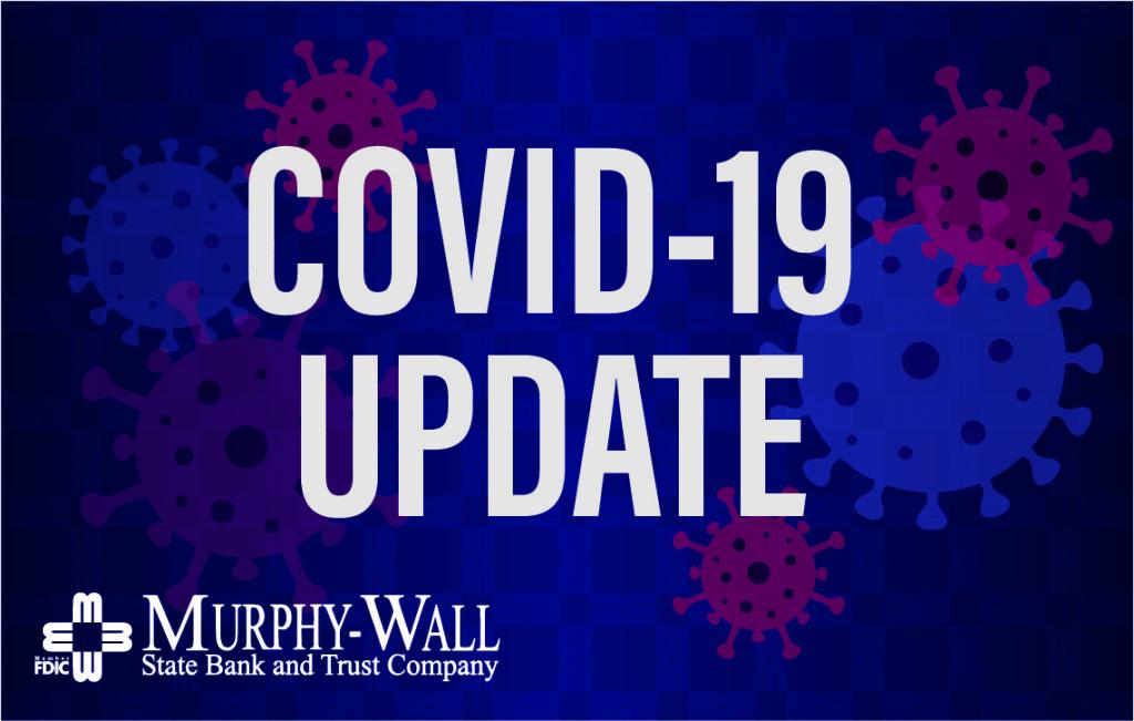 COVID-19 Update wording blue virus spores background