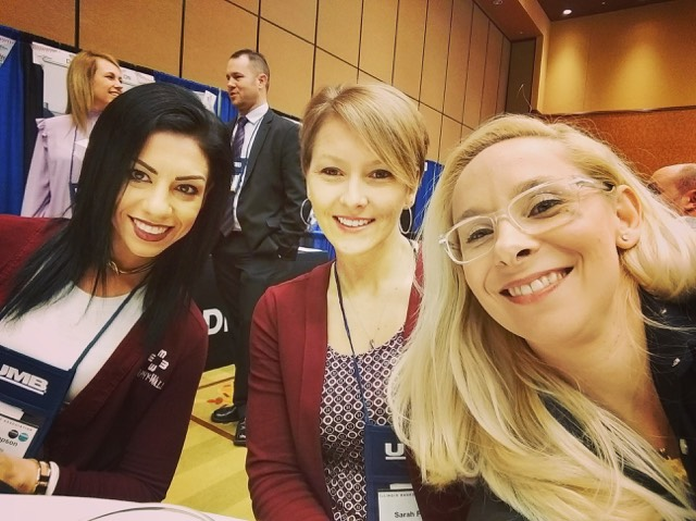 Murphy-Wall State Bank and Trust Company employee Bailey Thompson, Sarah Folden, and Monika Holder attend the ONE Conference
