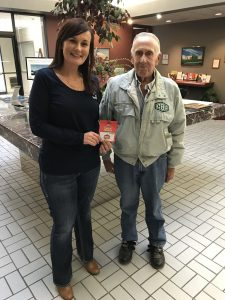 Veteran Bernard Baker with Murphy-Wall employee Jenn Tristchler