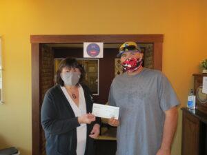 Nathan Reams Julie Briley Elkville Little League donation