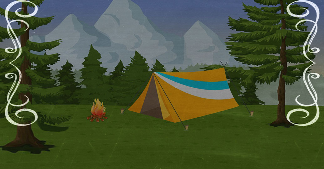Cartoon image of tent by a campfire