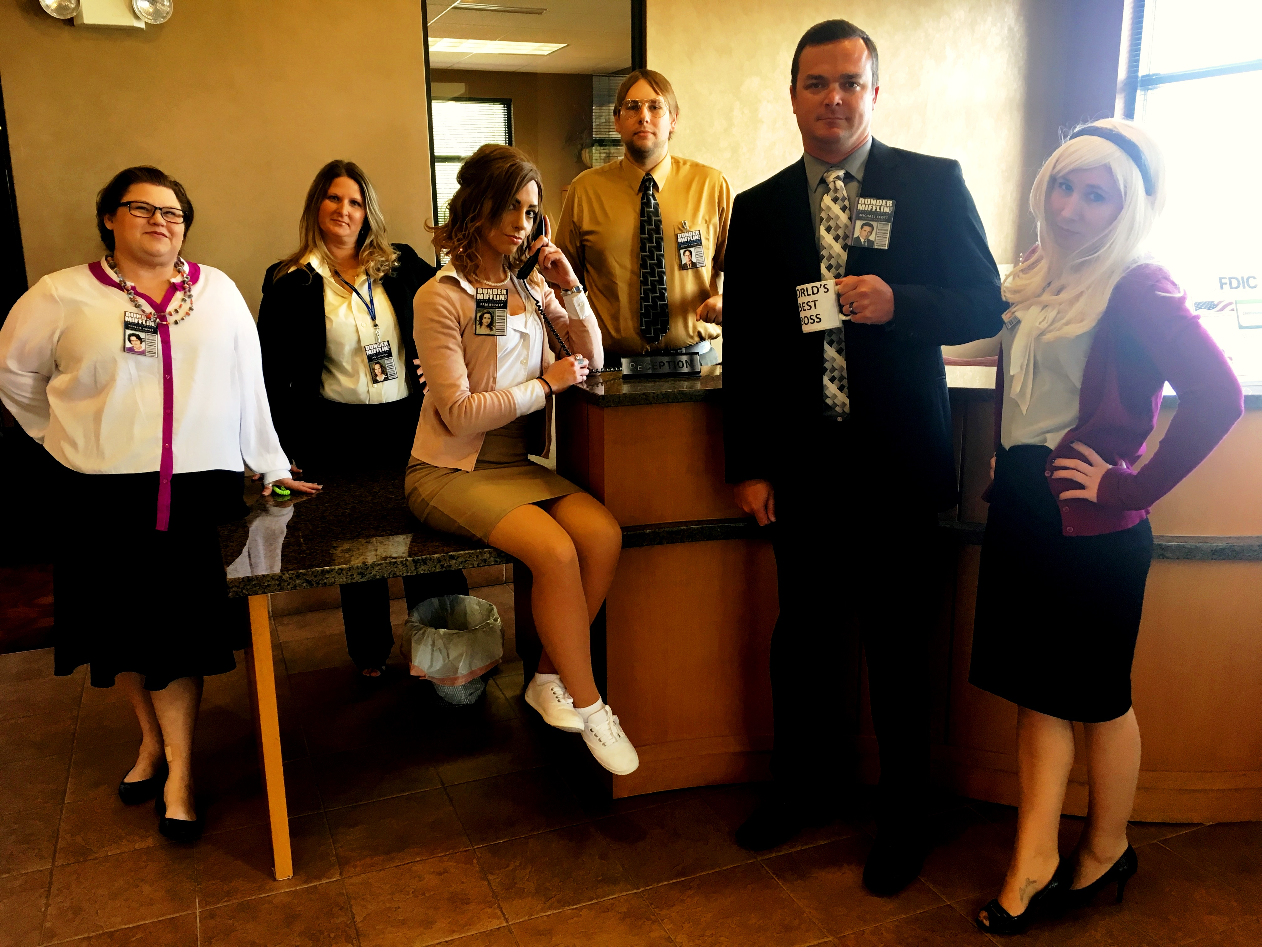 Murphy-Wall State Bank and Trust Company employees dress up as characters from the show called The Office for 2017 Halloween