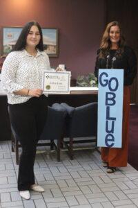 October Student of the Month Winner Chloe Loos and Jennifer Tritscler, VP