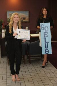 Student of the Month, Alexis Degler receiving award from Susan Davis, EVP/COO