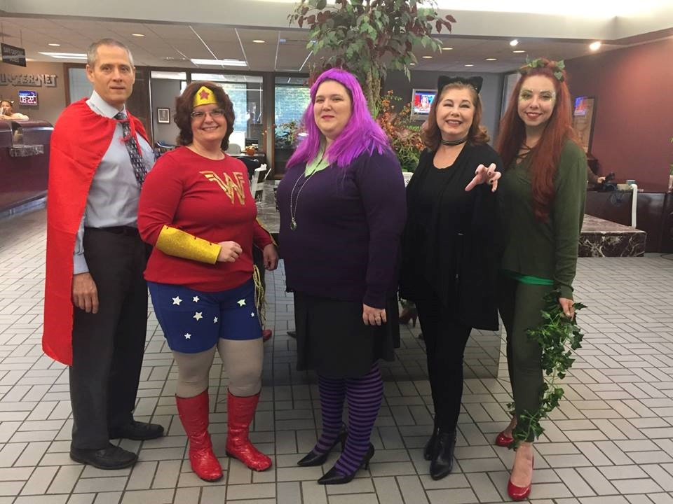 Murphy-Wall State Bank and Trust Company employees dress up as heros and villains for 2017 Halloween