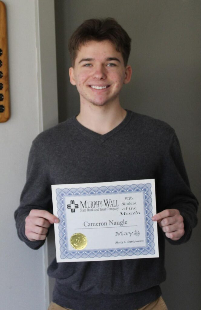 2020 May PCHS Student of the Month winner Cameron Naugle holds award