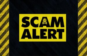 Scam Alert on caution road