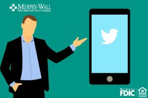 Cartoon image of a man and a cell phone screen shot of Twitter