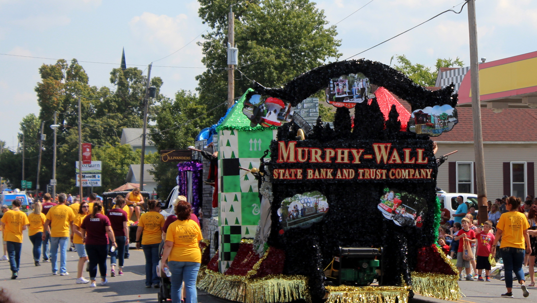 The back of the Murphy-Wall State Bank and Trust Company 2017 Apple Festival Float themed Harry Potter