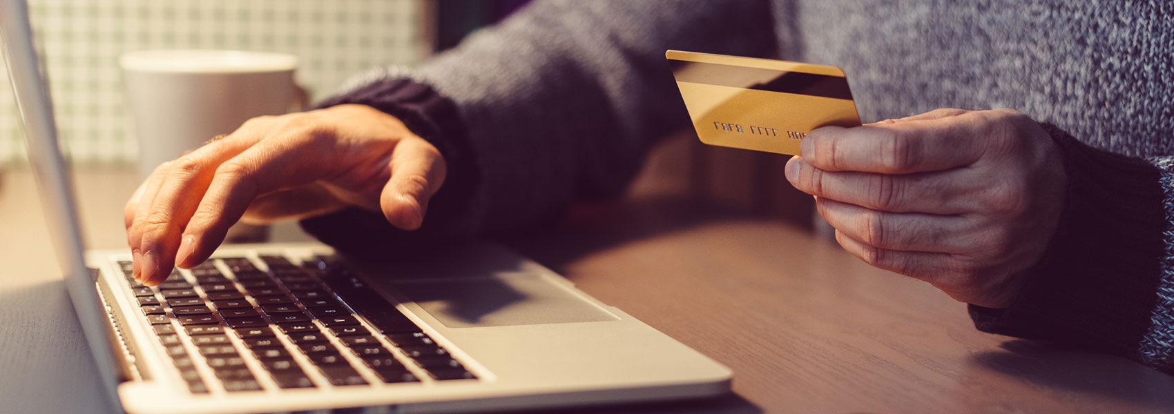 A person holding a credit card at a computer