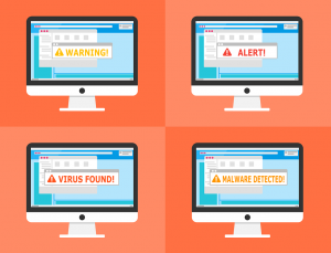 "Four computers with different alerts saying ""WARNING!"", ""ALERT!"", ""VIRUS FOUND!"", and ""MALWARE DETECTED!"""