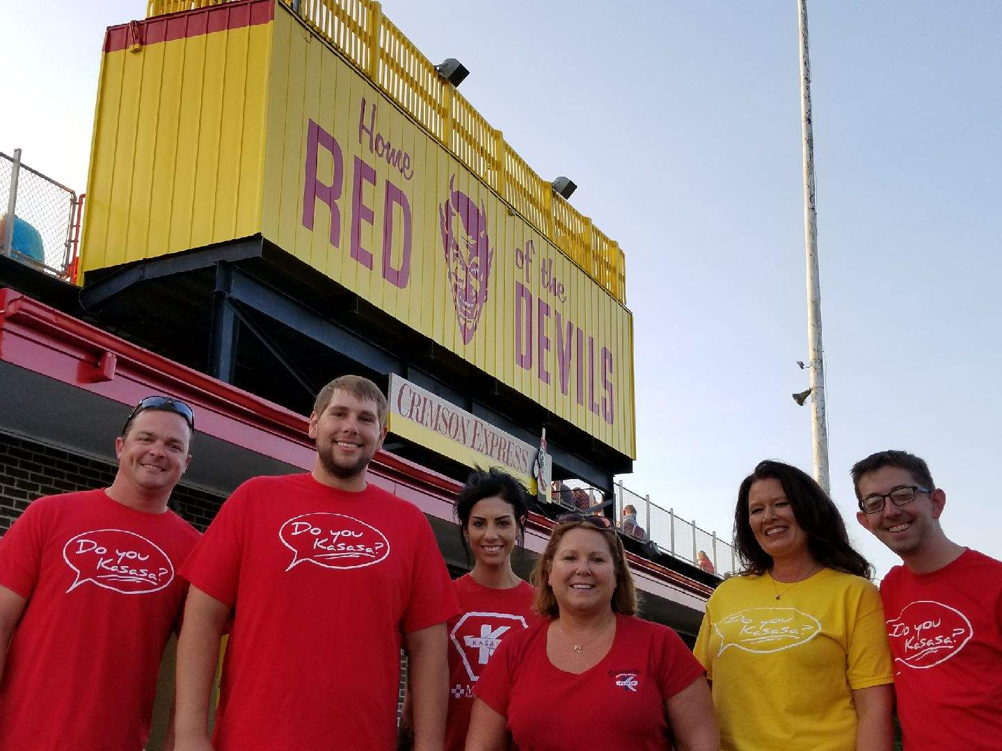 Murphy-Wall State Bank employees pose for the MHS football game