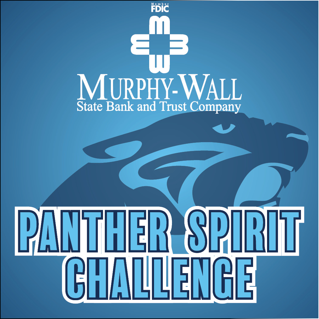 Murphy-Wall State Bank graphic image stating Panther Spirit Challenge, Member FDIC
